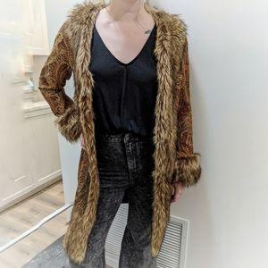 Chicos Faux Fur Brocade Penny Lane Coat